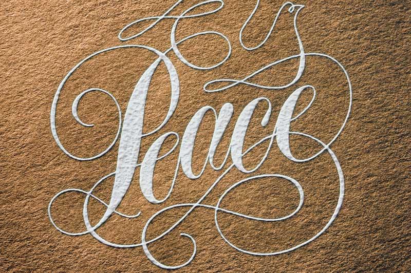 Engraving Detail - Peace | Luxury Printing
