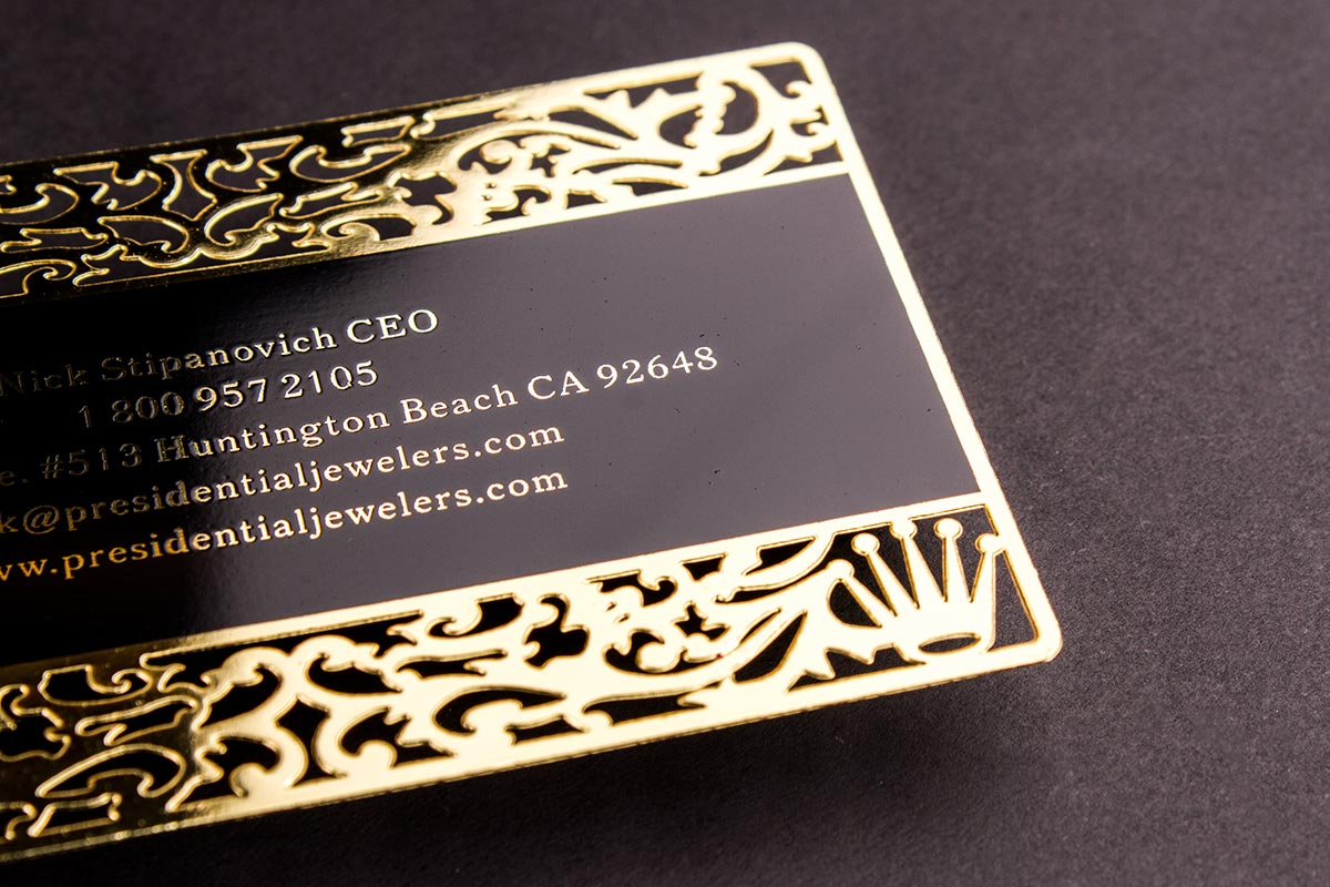 Gold metal business cards luxury printing gold business card new york luxury printing reheart Image collections